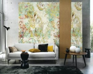 Casamance panoramic wallpaper panel Floreal beige