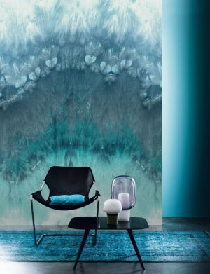 Casamance panoramic wallpaper panel Grenat blue
