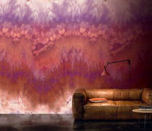 Casamance panoramic wallpaper panel Grenat rouge