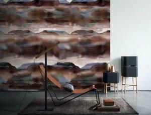 Casamance panoramic wallpaper panel Iron brun chocolat