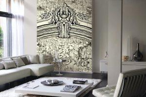 Casamance panoramic wallpaper panel Jolie Dame noir et blanc
