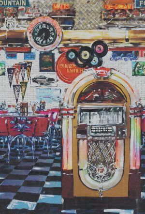 Casamance panoramic wallpaper panel Juke Box