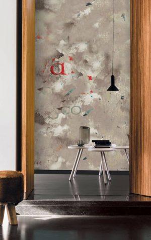 Casamance panoramic wallpaper panel Le Mur beige