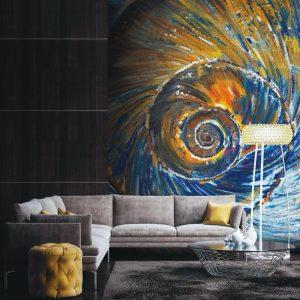 Casamance panoramic wallpaper panel Le Reve d-Euclide multi