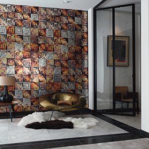 Casamance wallpaper Pierre de Lave copper