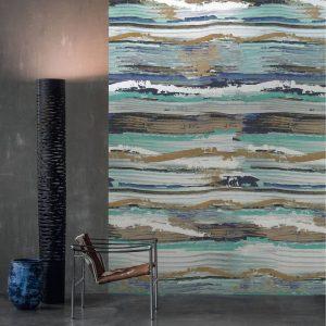 Casamance panoramic wallpaper panel Socorro blue