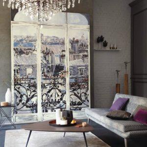 Casamance panoramic wallpaper panel Wake Up beige