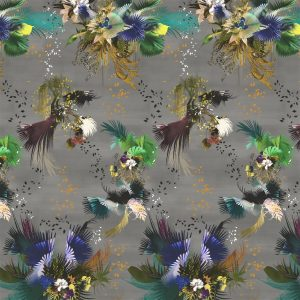 Christian Lacroix wallpaper panel Oiseau Fleur Graphite