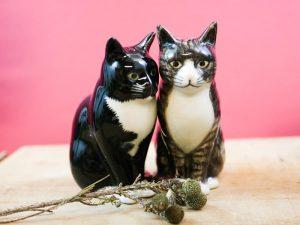 Quail Ceramics salt and pepper cats Millie and Julius
