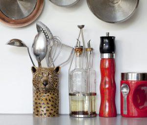 Quail Ceramics utensil pot Leopard